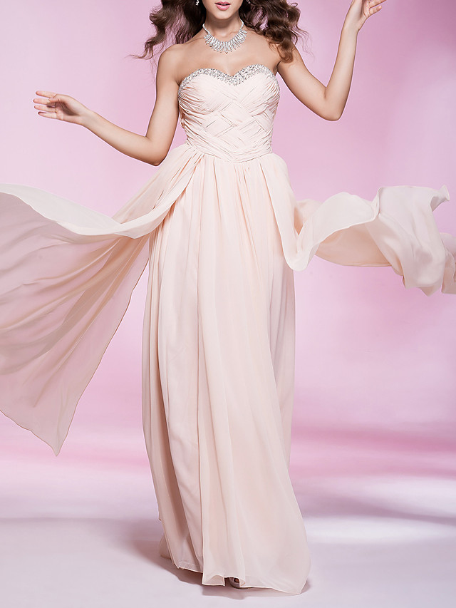 Sheath / Column Strapless / Sweetheart Neckline Floor Length Chiffon Elegant Prom / Formal Evening / Military Ball Dress with Beading / Criss Cross / Pleats 2020