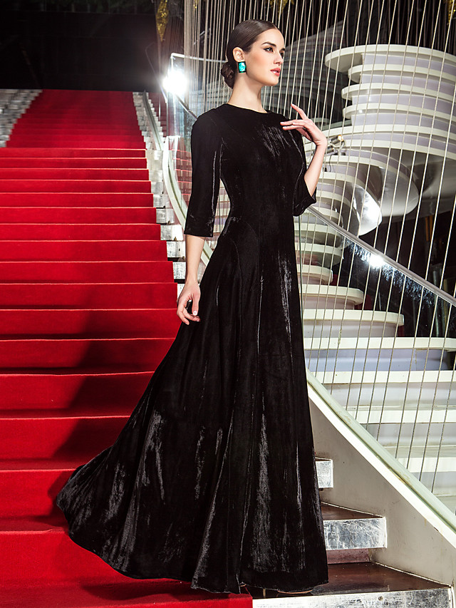 A-Line Celebrity Style Inspired by Cannes Film Festival Vintage Inspired Formal Evening Military Ball Dress Jewel Neck 3/4 Length Sleeve Floor Length Velvet with Pleats 2020