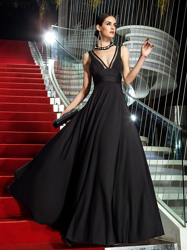 A-Line Celebrity Style Minimalist Prom Formal Evening Dress Plunging Neck Sleeveless Floor Length Jersey with Lace Insert 2020