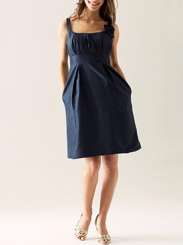 Sheath / Column Scoop Neck Knee Length Taffeta Bridesmaid Dress with Draping / Flower / Pocket