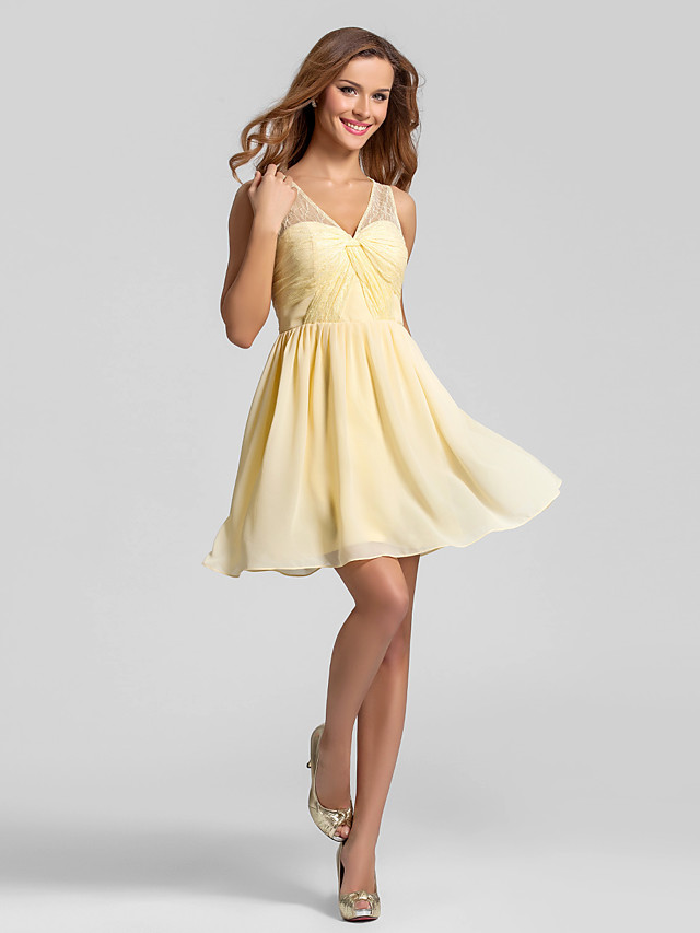 A-Line V Neck Short / Mini Chiffon Bridesmaid Dress with Lace / Criss Cross / Ruched / See Through
