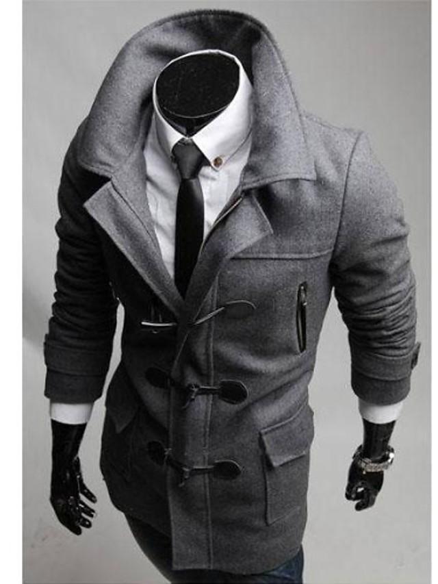 Мужской Однотонный Пальто,Для торжеств и мероприятий,Хлопок,Длинный рукав-Черный / Серый