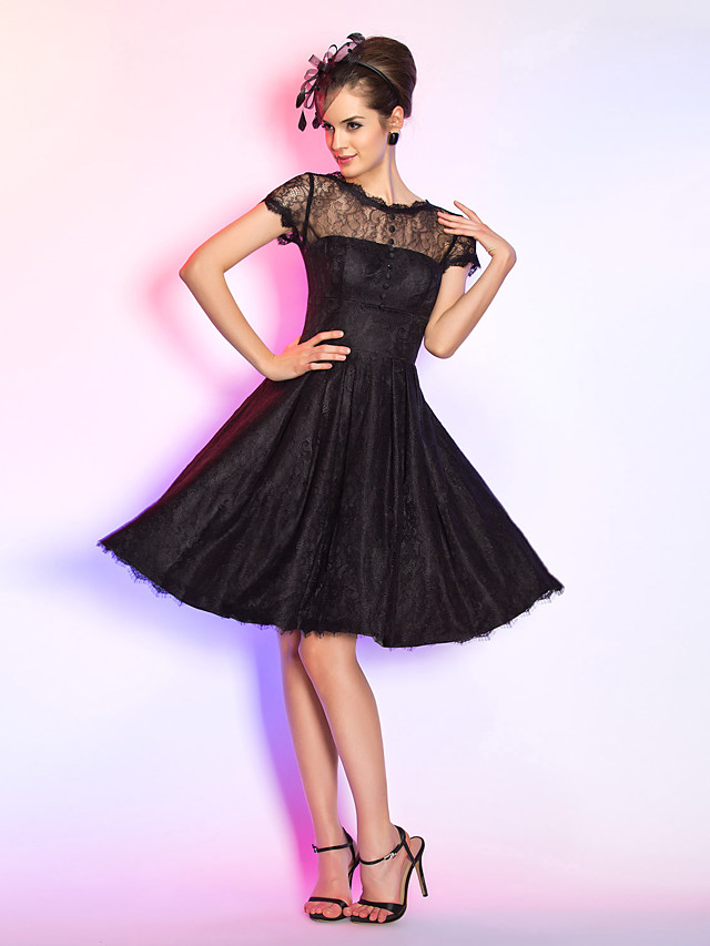 A-Line / Fit & Flare Illusion Neck Knee Length Lace Dress with Buttons / Draping by TS Couture®