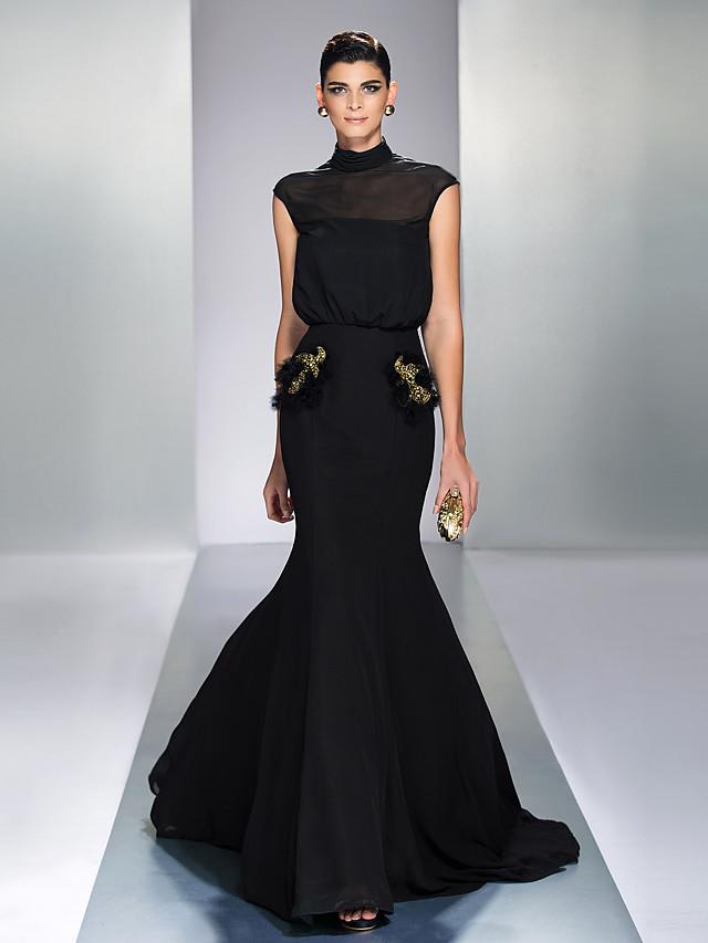 Mermaid / Trumpet Elegant Black Wedding Guest Formal Evening Dress High Neck Sleeveless Court Train Chiffon with Sequin 2020
