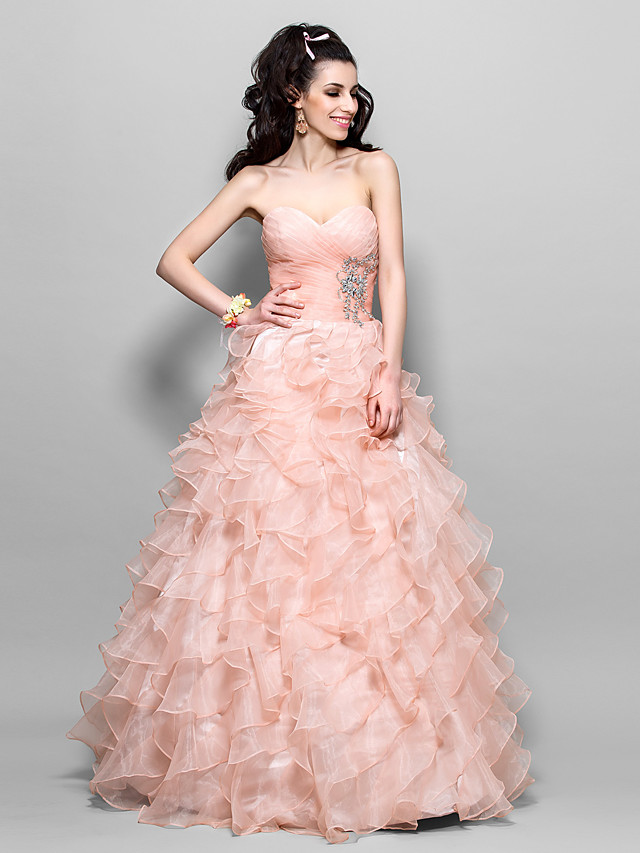 Ball Gown A-Line Quinceanera Prom Formal Evening Dress Strapless Sweetheart Neckline Sleeveless Floor Length Organza with Criss Cross Beading Cascading Ruffles 2020