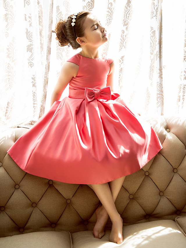Princess / A-Line Tea Length Pageant Flower Girl Dresses - Satin Short Sleeve Jewel Neck with Bow(s)