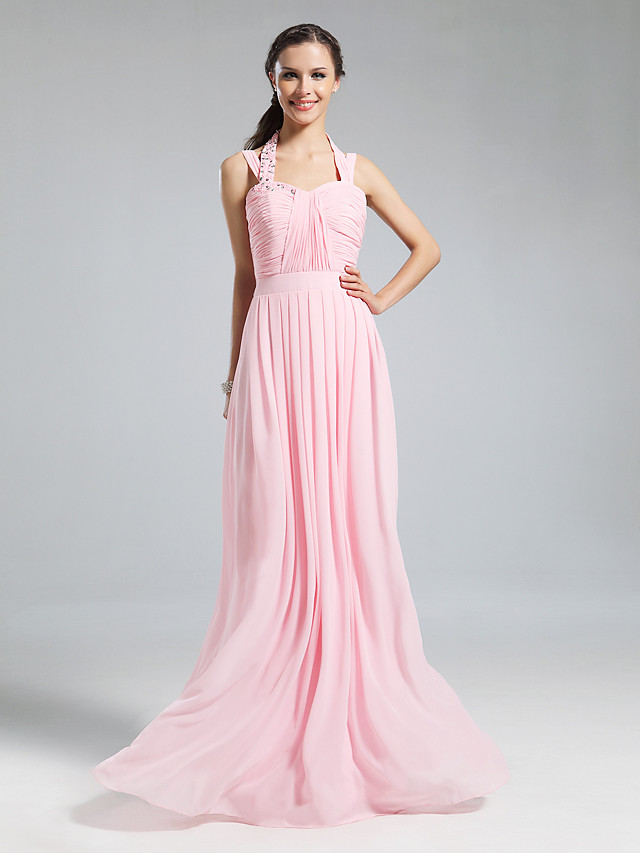 Sheath / Column Halter Neck Floor Length Chiffon Bridesmaid Dress with Pleats / Ruched / Beading