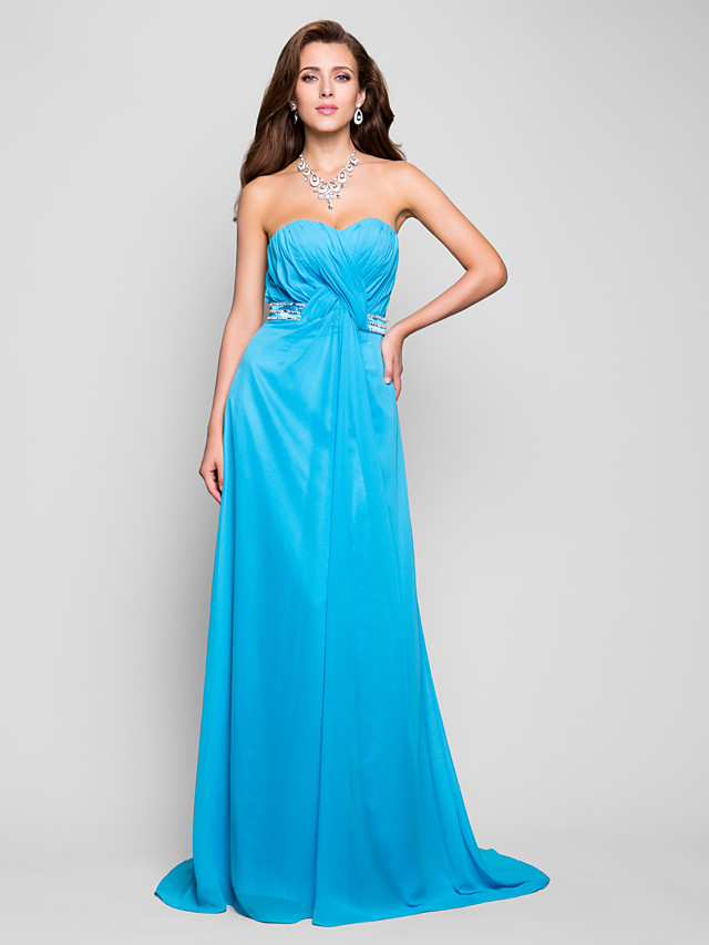 Ball Gown Open Back Prom Formal Evening Military Ball Dress Sweetheart Neckline Strapless Sleeveless Floor Length Chiffon with Criss Cross Crystals Draping 2021