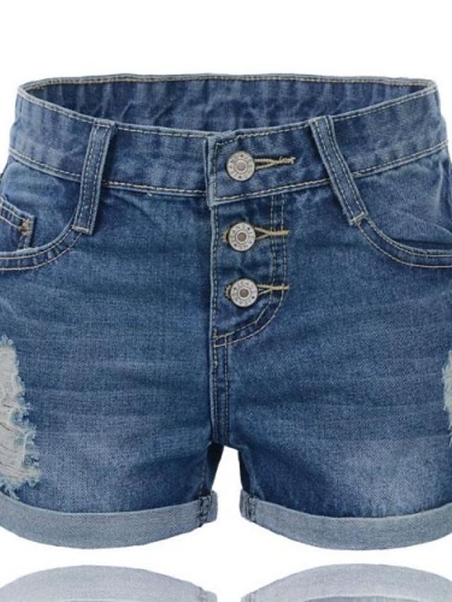 Mujeres Agujero ruedan para arriba Denim Shorts