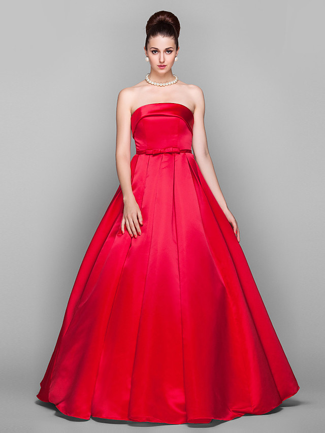 Ball Gown Elegant Red Quinceanera Prom Dress Strapless Sleeveless Floor Length Satin with Bow(s) 2020