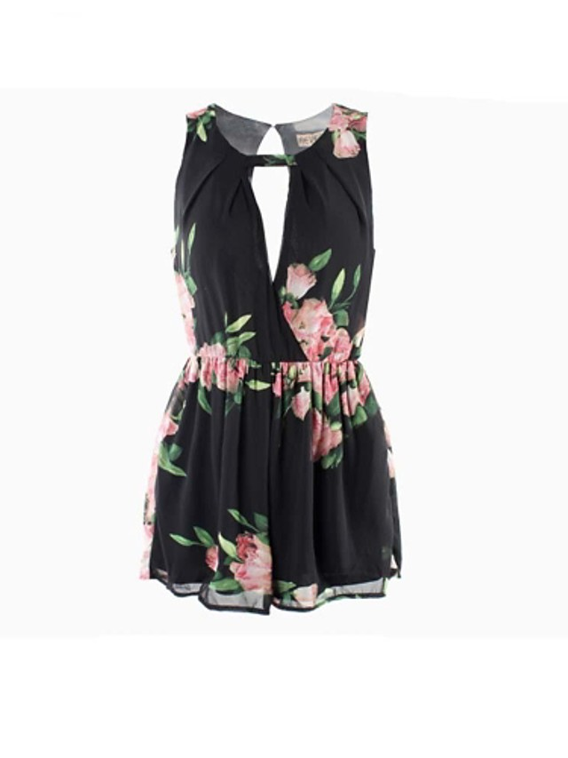 Women's Boho Going out Beach Cut Out White Black Romper Floral Backless Print Cotton