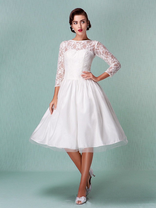 A-Line Wedding Dresses Bateau Neck Knee Length Lace Tulle 3/4 Length Sleeve Little White Dress with Lace 2020 / Illusion Sleeve
