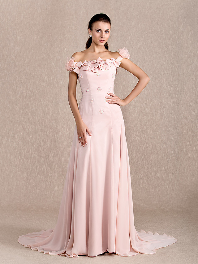 Ball Gown Floral Formal Evening Dress Off Shoulder Short Sleeve Court Train Chiffon with Bow(s) Beading Flower 2020