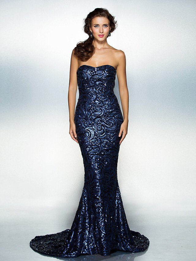 Mermaid / Trumpet Elegant Celebrity Style Sparkle & Shine Formal Evening Dress Sweetheart Neckline Sleeveless Court Train Sequined with Sequin 2020 / Open Back
