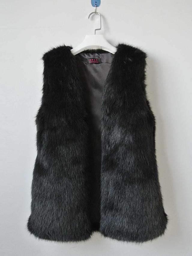 chaleco de piel con sin cuello de moda en ropa de piel sintética / chaleco partido (más colores)