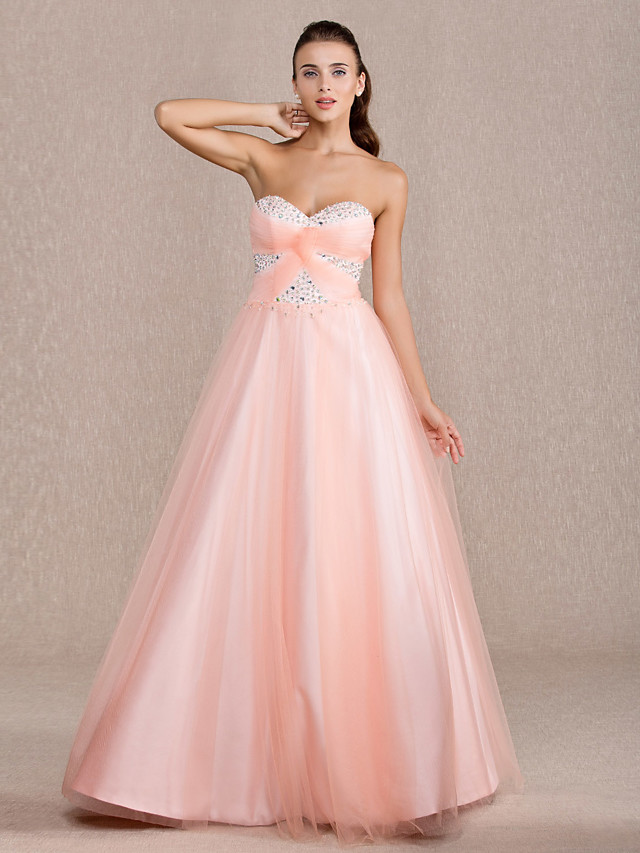 Ball Gown Open Back Quinceanera Prom Formal Evening Dress Sweetheart Neckline Sleeveless Floor Length Tulle with Criss Cross Beading 2020