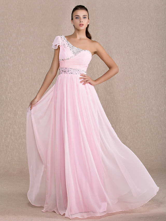 Sheath / Column Open Back Pastel Colors Prom Formal Evening Military Ball Dress One Shoulder Short Sleeve Floor Length Chiffon with Beading Draping 2020