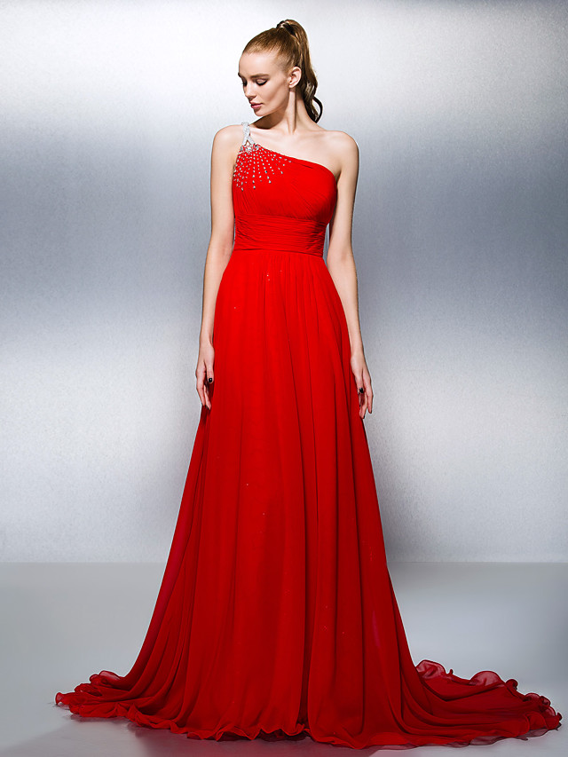 Ball Gown Elegant Formal Evening Dress One Shoulder Sleeveless Court Train Georgette with Sash / Ribbon Ruched Crystals 2020