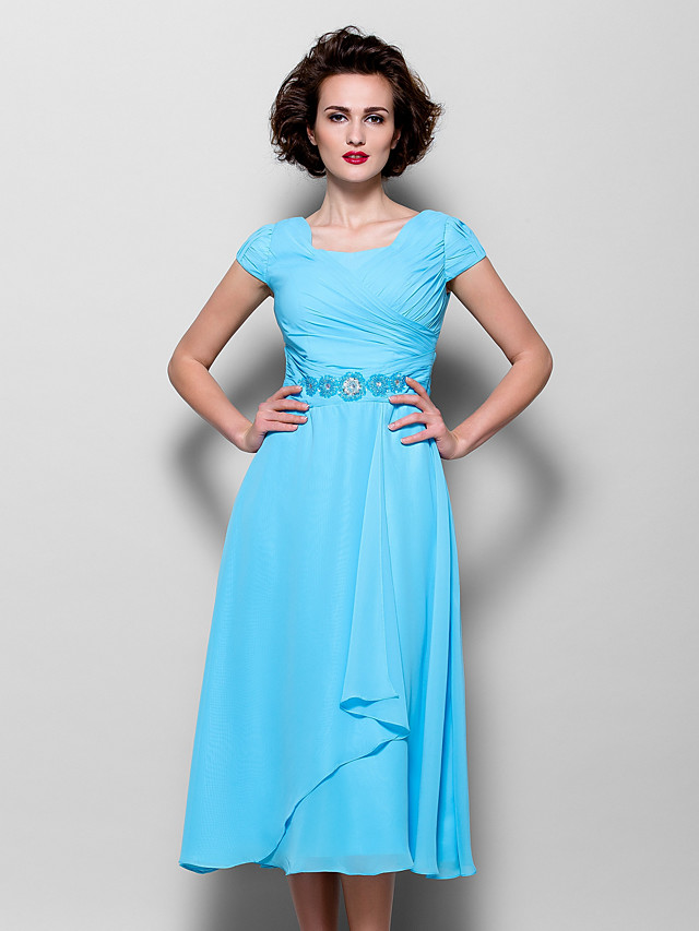 A-Line Mother of the Bride Dress Elegant Jewel Neck Tea Length Chiffon Short Sleeve with Beading Side Draping 2020
