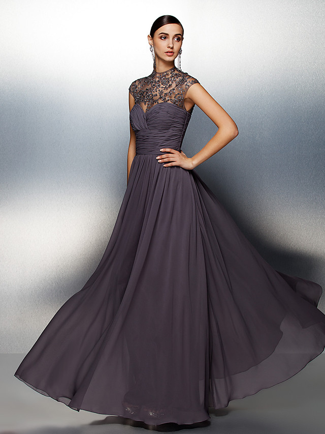 A-Line See Through Formal Evening Black Tie Gala Dress High Neck Short Sleeve Floor Length Chiffon with Criss Cross Ruched Beading 2020
