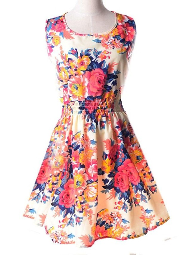 Women's Floral Dress,Casual