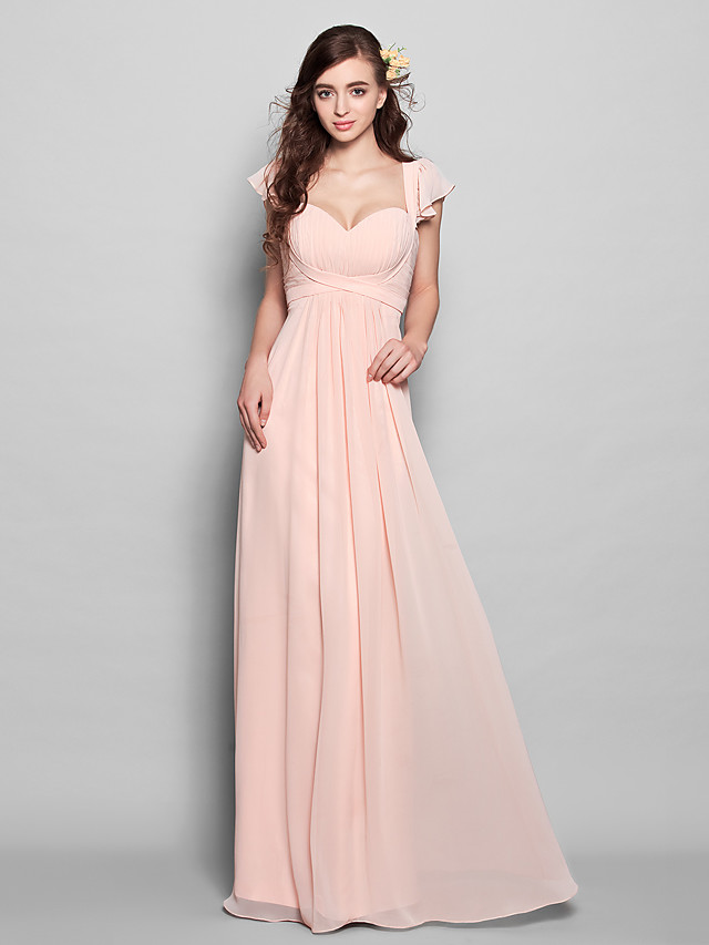 A-Line Sweetheart Neckline Floor Length Chiffon Bridesmaid Dress with Draping / Ruffles / Ruched