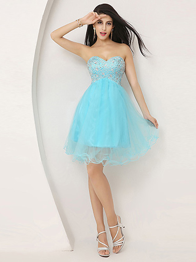 Back To School A-Line Sparkle & Shine Homecoming Cocktail Party Dress Sweetheart Neckline Sleeveless Knee Length Tulle with Beading 2020 Hoco Dress