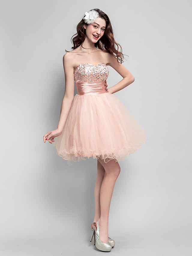 Back To School Ball Gown Fit & Flare Sparkle & Shine Beaded & Sequin Homecoming Prom Dress Sweetheart Neckline Sleeveless Short / Mini Tulle with Ruched Beading 2020 Hoco Dress