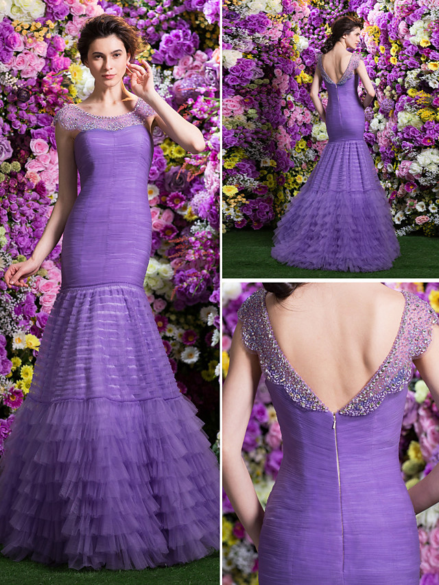 Fit & Flare Prom Formal Evening Dress Scoop Neck Sweep / Brush Train Tulle with Ruched Beading Tassel 2020