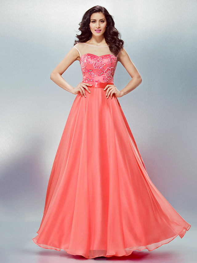 A-Line Formal Evening Dress Scoop Neck Floor Length Chiffon with Sash / Ribbon Beading Appliques 2020