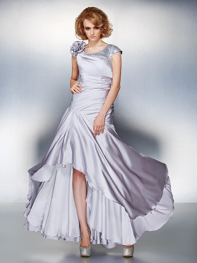 A-Line Mother of the Bride Dress Lace Up Scoop Neck Asymmetrical Satin Chiffon Short Sleeve with Sequin Side Draping Flower 2020