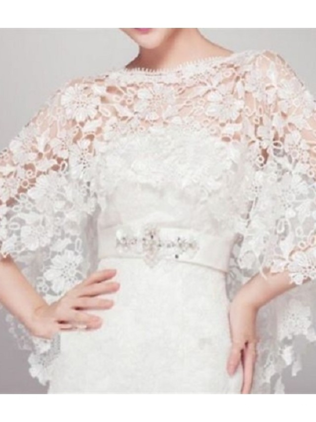Sleeveless Capelets Lace Wedding / Party Evening Wedding  Wraps With Lace