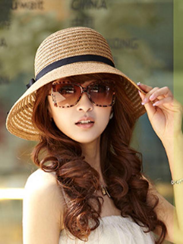 Mulheres De Palha Chapéu de sol Misto de Algodão Palha Férias - Sólido Verão Khaki Bege / Beje / Marrom / Chapéu e Boné
