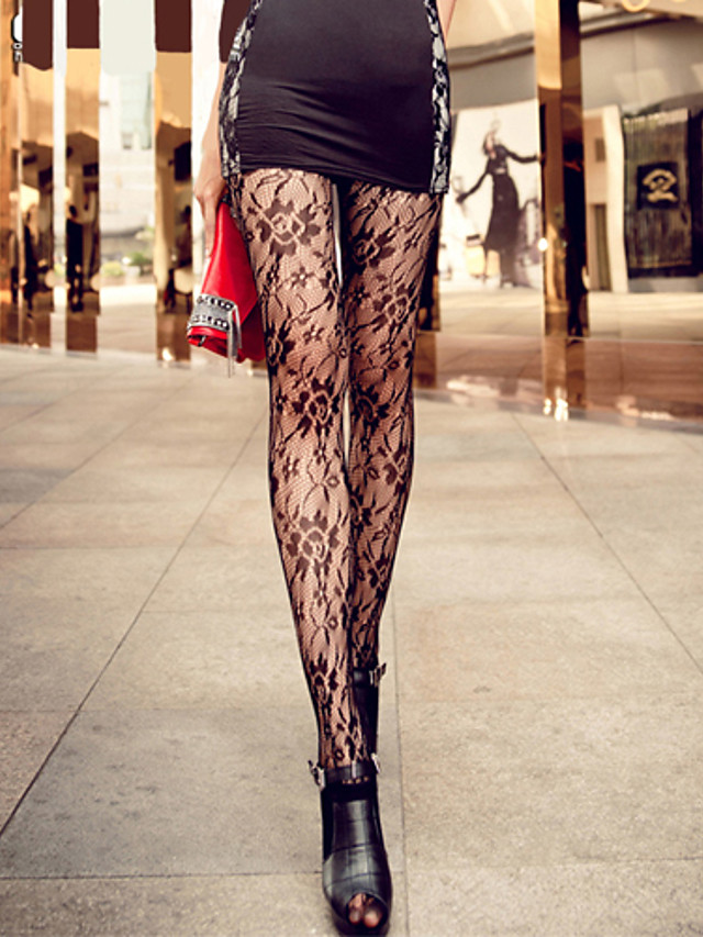 Women's Thin Pantyhose - Jacquard Screen Color One-Size