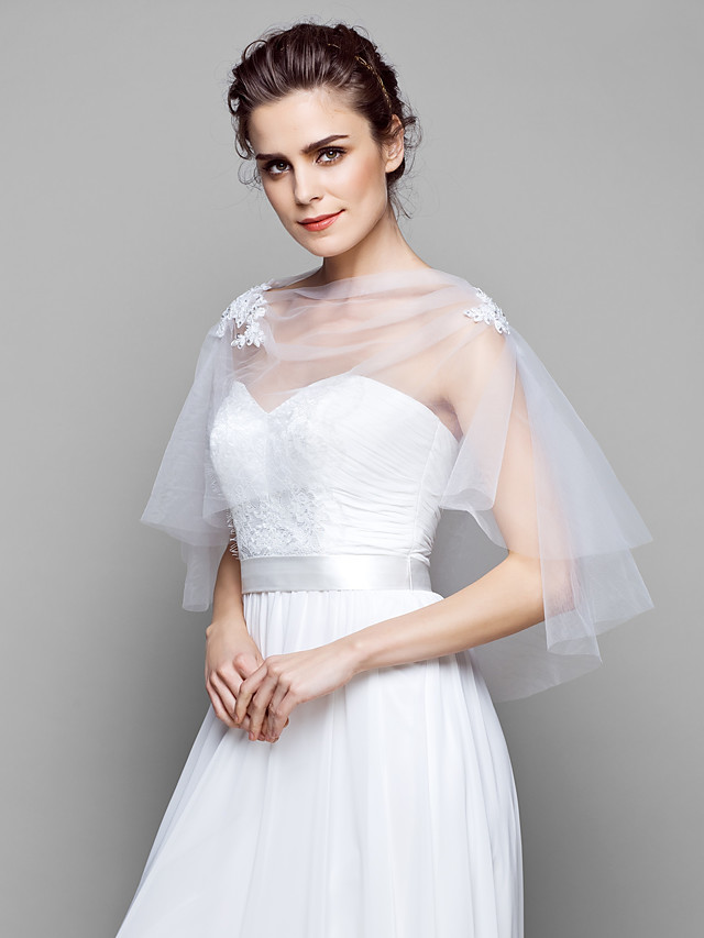 Capelets Tulle Wedding / Party Evening Wedding  Wraps With
