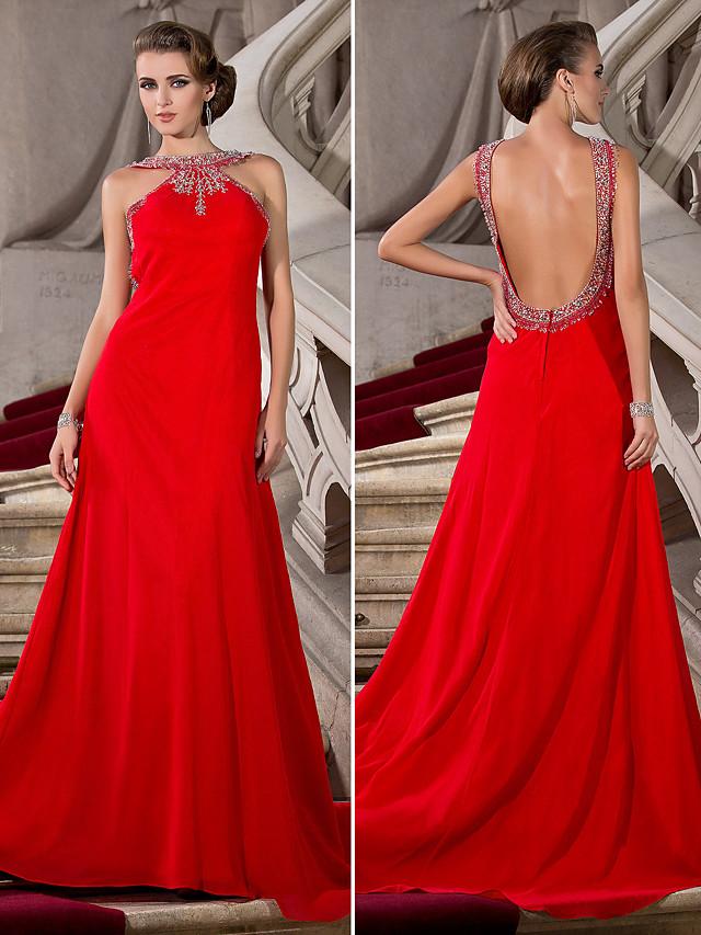 Ball Gown Jewel Neck Court Train Chiffon Beautiful Back Formal Evening Dress with Beading 2020