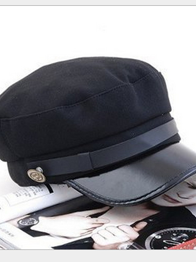 Unisex Party Work Casual PU Sun Hat-Solid Colored All Seasons Black Screen Color / Cute / Hat & Cap / Multi-color