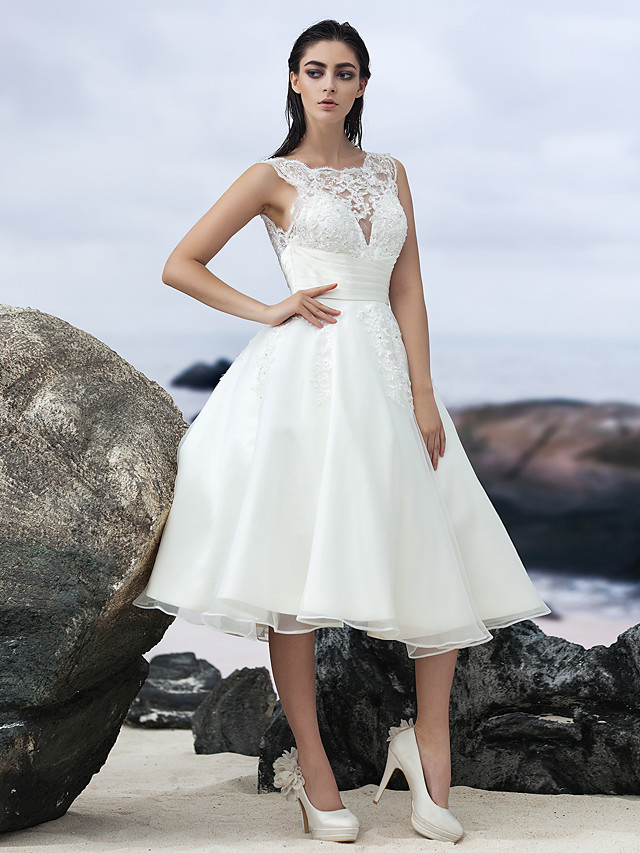 A-Line Wedding Dresses Bateau Neck Knee Length Organza Regular Straps Formal Casual Little White Dress Illusion Detail Backless with Lace Insert 2020