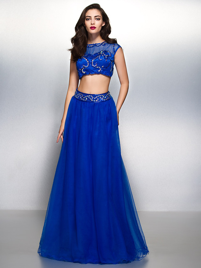 Two Piece A-Line Beautiful Back Two Piece Prom Formal Evening Dress Illusion Neck Short Sleeve Floor Length Tulle with Beading Appliques 2020