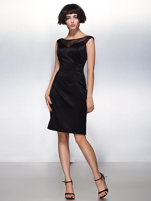 Sheath / Column Little Black Dress Cocktail Party Dress Illusion Neck Sleeveless Knee Length Satin with Pleats 2020