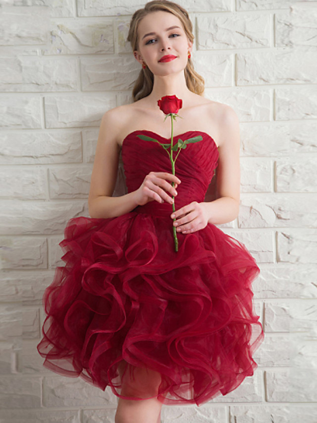 Ball Gown Sweetheart Neckline Short / Mini Organza Bridesmaid Dress with Cascading Ruffles