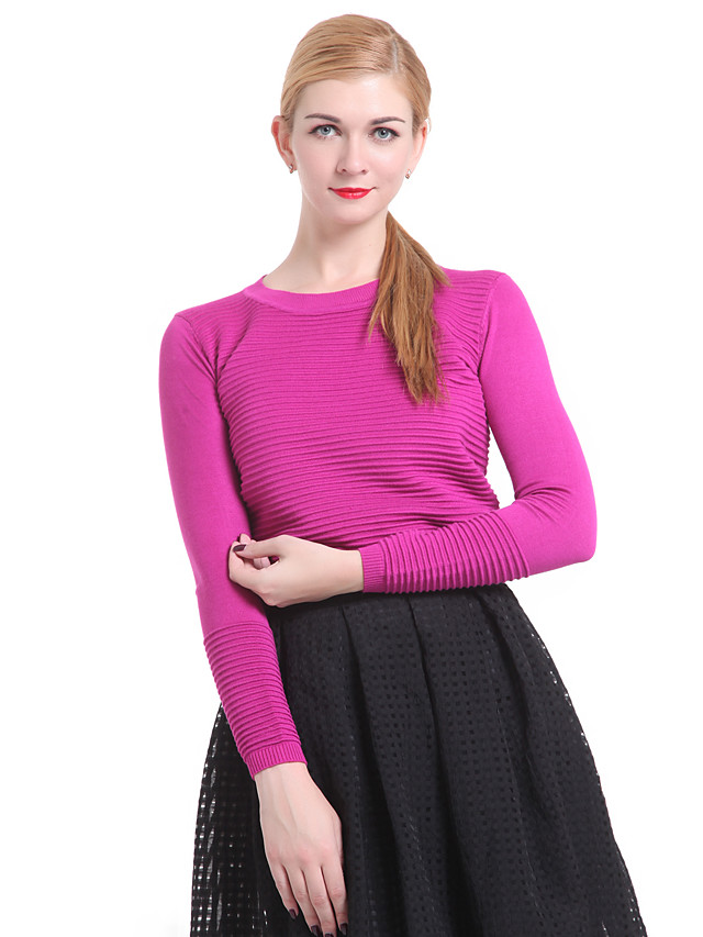 Women's Solid Colored Pullover Long Sleeve Sweater Cardigans Round Neck Spring Fall Black Red Fuchsia