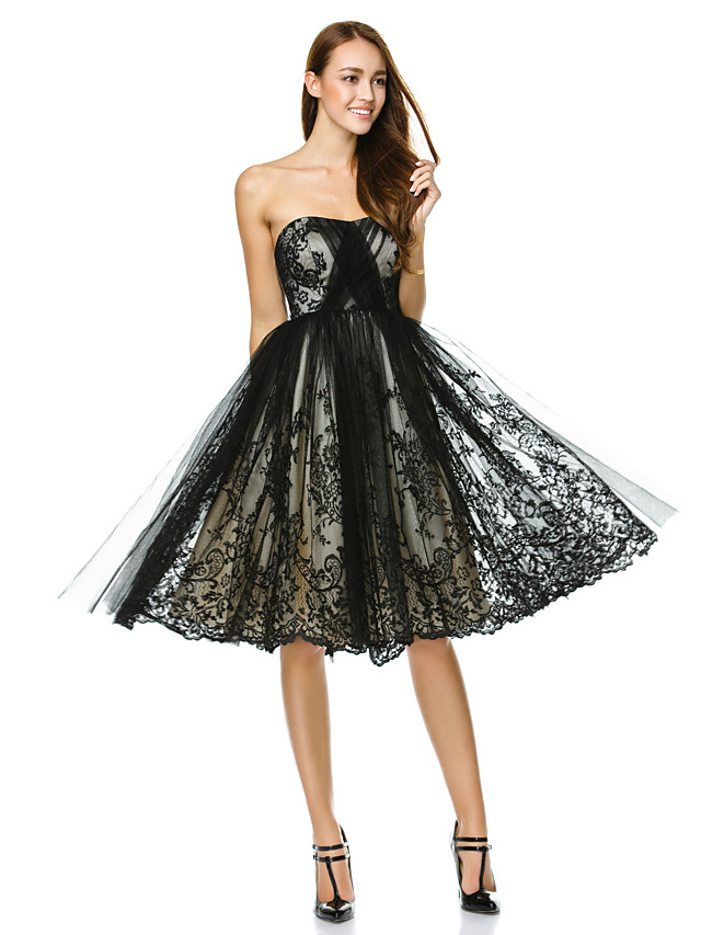 A-Line Fit & Flare Little Black Dress Holiday Cocktail Party Prom Dress Strapless Sleeveless Knee Length Tulle with Lace 2020