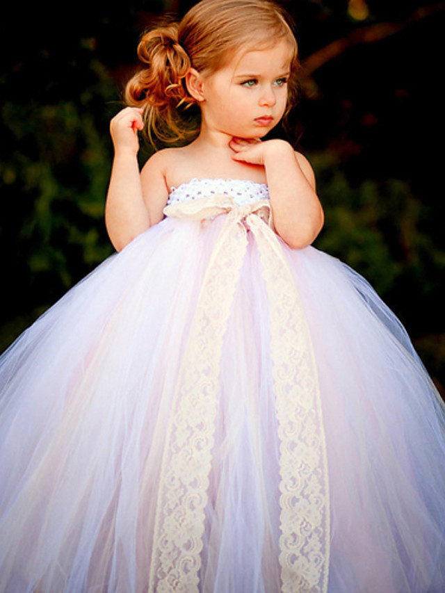 Ball Gown Ankle Length Flower Girl Dress - Polyester / Tulle Sleeveless Strapless with Bow(s) / Sash / Ribbon / Flower by