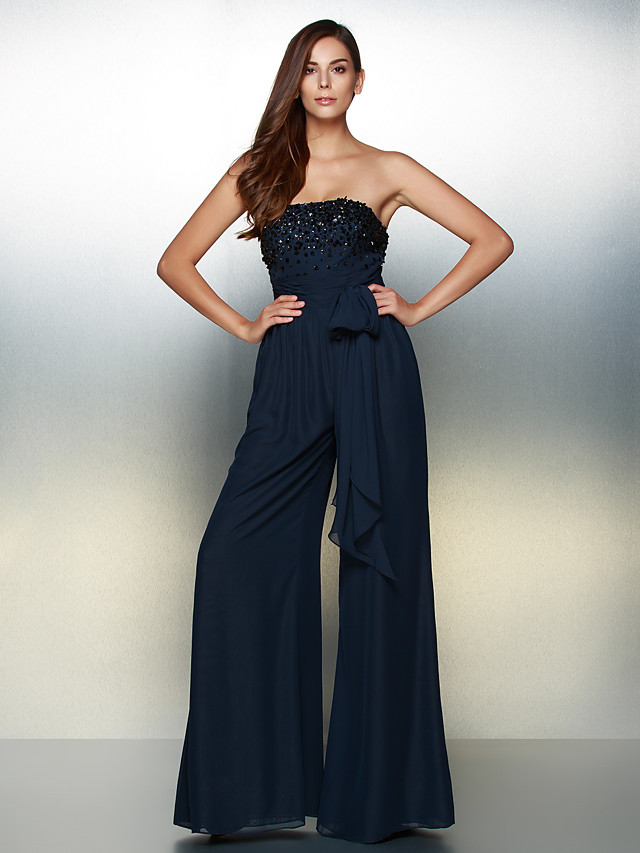 Jumpsuits Chic & Modern Elegant Formal Evening Wedding Party Dress Strapless Sleeveless Floor Length Chiffon with Bow(s) Beading 2020