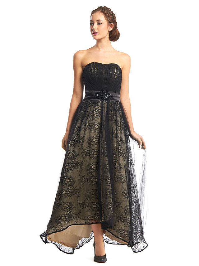 A-Linie Kleines Schwarzes Kleid Abiball Formeller Abend