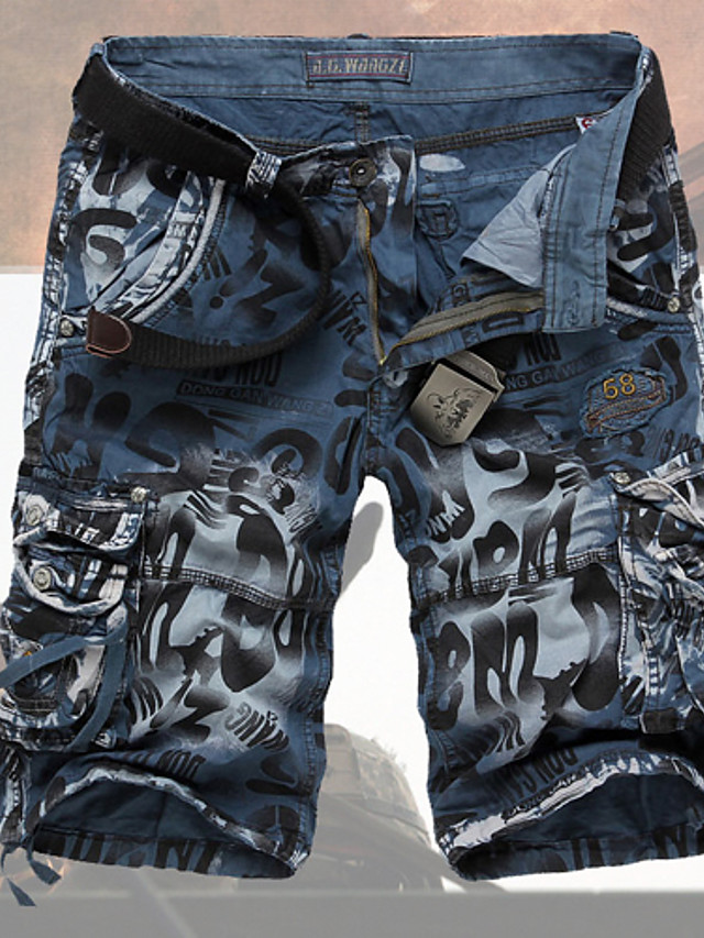Men's Basic Military Daily Going out Weekend Jeans Shorts Pants Print Dark Gray Green Blue 29 / 30 / 31