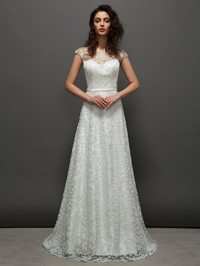 Ball Gown Prom Formal Evening Dress Jewel Neck Short Sleeve Court Train Lace with Sash / Ribbon 2020