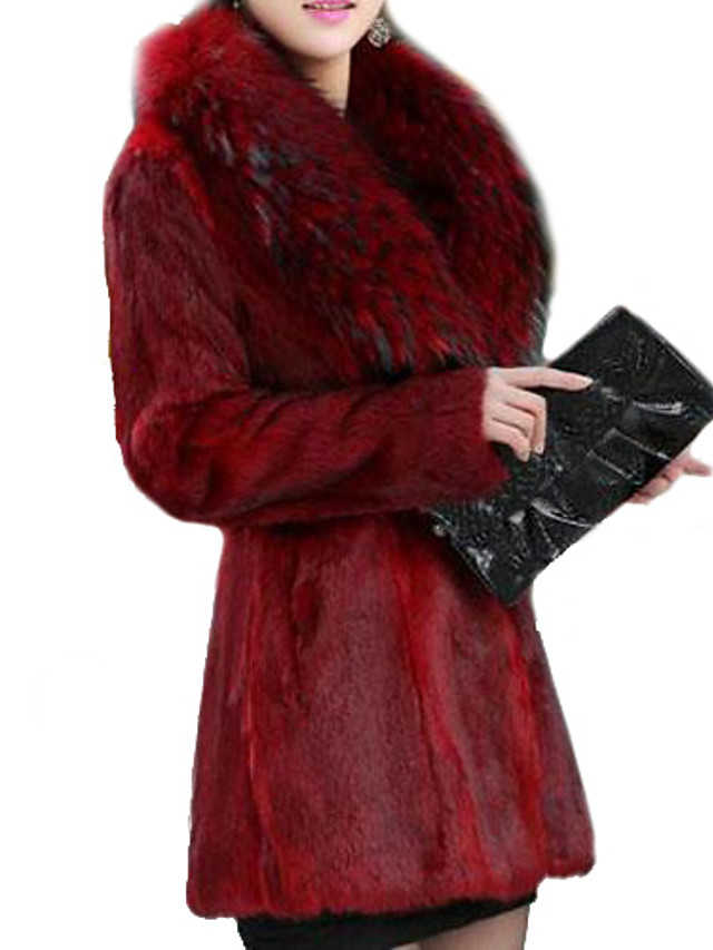 Women's Going out Sophisticated Faux Fur Fur Coat - Solid Colored V Neck / Fall
