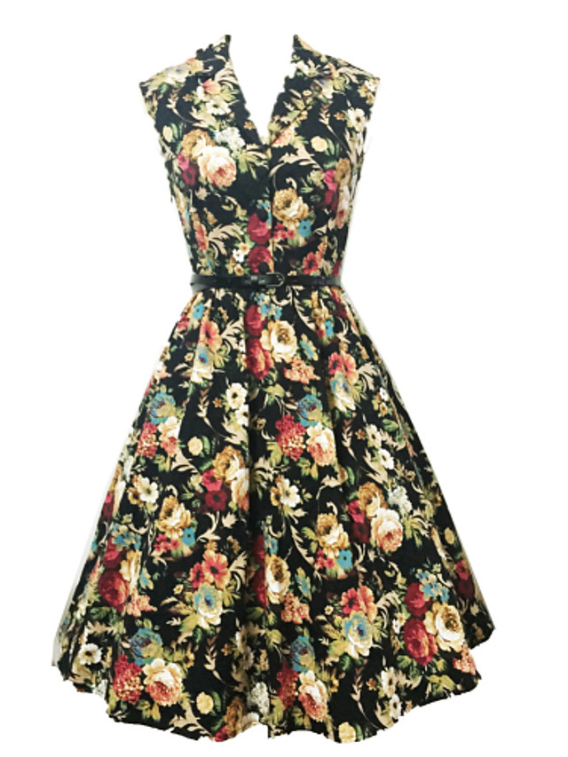 Women's Going out Vintage A Line Knee-length Dress,Floral Print V Neck Sleeveless Cotton High Rise